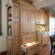 Kitchens traditional ambiance, a Sub Zero refrigerator behind cabinetry, countertop, cuisine classique, flooring, furniture, hardwood, home, interior design, kitchen, room, wood, brown, gray
