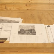 Original plans and sketches of the High Court floor, flooring, material, plywood, wood, wood stain, orange