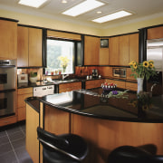 Brown timber kitchen - laminate - Brown timber cabinetry, countertop, interior design, kitchen, real estate, room, black, brown