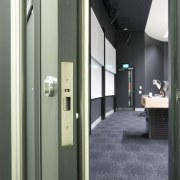 View of fire safety and disability friendly doors architecture, door, floor, interior design, gray, black