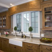 Wooden cabintery Kitchen, with kitchen sink kitchen appliances cabinetry, countertop, cuisine classique, interior design, kitchen, room, under cabinet lighting, window, brown, gray