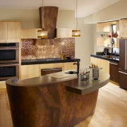 Bronze contemporary kitchen - Bronze contemporary kitchen - cabinetry, countertop, cuisine classique, floor, flooring, hardwood, interior design, kitchen, room, wood flooring, orange, brown