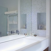 Interior view of ensuite featuring custom Marblo vanity. architecture, bathroom, bathroom accessory, ceiling, daylighting, floor, glass, home, house, interior design, room, sink, tap, tile, wall, window, gray
