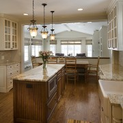 View of kitchens remodelled by Apex Kitchen and cabinetry, countertop, cuisine classique, floor, flooring, hardwood, interior design, kitchen, laminate flooring, room, wood, wood flooring, brown, gray