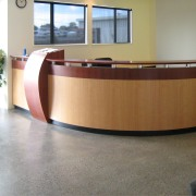 View of Stahlton Engineered Concretes new office and desk, floor, flooring, furniture, product design, table, gray, white