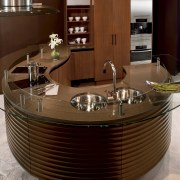 Island bench shot contemporary design twin bowl sinks cabinetry, countertop, furniture, interior design, kitchen, table, red, brown