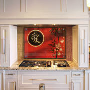 View of kitchen gass stove with a oriental cabinetry, countertop, cuisine classique, flooring, home appliance, interior design, kitchen, kitchen appliance, room, gray