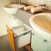 View of hideaway bins from Kitchen King. - bathroom, bathroom accessory, floor, interior design, plumbing fixture, product design, property, room, sink, tap, toilet, toilet seat, orange