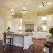 View of traditional styled kitchen in a new cabinetry, ceiling, countertop, cuisine classique, estate, floor, flooring, hardwood, home, interior design, kitchen, living room, real estate, room, wood flooring, orange