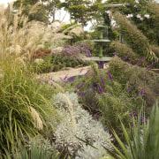 View of garden which features an antique fountain botanical garden, flora, flower, garden, grass, grass family, landscape, landscaping, plant, shrub, tree, vegetation, brown