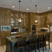 Image of kitchen recessed lighting and 2 hanging cabinetry, countertop, cuisine classique, interior design, kitchen, room, brown, gray