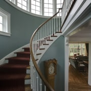 Image of the stairway which is inside the architecture, baluster, building, ceiling, daylighting, estate, glass, handrail, home, interior design, iron, stairs, structure, window, gray