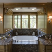 View of master bathroom which includes a bath cabinetry, countertop, estate, home, interior design, kitchen, real estate, room, window, brown
