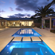 View of outdoor area, pool and spa which estate, home, house, leisure, lighting, property, real estate, resort, sky, swimming pool, villa, teal