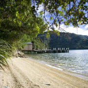 View of wharf for this house which has body of water, lake, leaf, nature, plant, reservoir, shore, sky, tree, water, brown