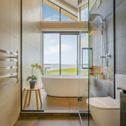 Long – and tall – the bathroom is