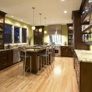 View of a kitchen designed by Drury Design cabinetry, countertop, flooring, hardwood, interior design, kitchen, room, brown, orange