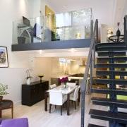 Florain took the upper level back five feet interior design, living room, loft, white