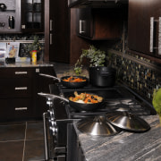 View of applainces by DCS - View of countertop, flooring, interior design, kitchen, black