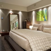 View of the master bathroom which features extensive bed frame, bedroom, ceiling, interior design, room, suite, wall, brown, gray