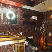View of the master bathroom which features extensive ceiling, flooring, interior design, restaurant, room, wall, red, brown