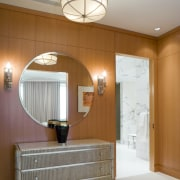 View of bathroom featuring vanity, basin, tapware, mirror, architecture, ceiling, floor, home, interior design, light fixture, lighting, room, wall, gray, brown