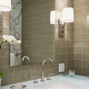 View of bathroom featuring vanity, basin, tapware, mirror, bathroom, bathroom accessory, ceiling, ceramic, countertop, floor, flooring, interior design, product design, room, sink, tap, tile, wall, brown