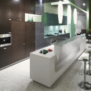 Designed to make a strong statement, the kitchen countertop, interior design, kitchen, product design, gray, black