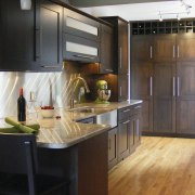 View of a new kitchen which was designed cabinetry, countertop, cuisine classique, flooring, hardwood, interior design, kitchen, room, black