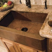 De La Fontera can custom design and handcraft countertop, plumbing fixture, sink, wood stain, brown, orange