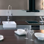 De Dietrich appliances have a sleek aesthetic that countertop, furniture, home appliance, interior design, kitchen, product design, sink, small appliance, table, tap, gray, black