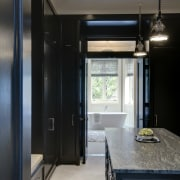 View of the dressing room which features grain-free, ceiling, countertop, interior design, kitchen, room, black, gray