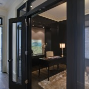 The master suite features a study which can interior design, room, black, gray