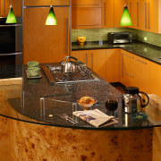 The focal point of this kitchen is the countertop, interior design, kitchen, room, under cabinet lighting, brown