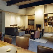 Image of the lounge, dining and kitchen in ceiling, interior design, living room, lobby, restaurant, brown