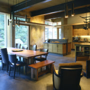 Image of the lounge, dining and kitchen. All furniture, interior design, kitchen, table, brown