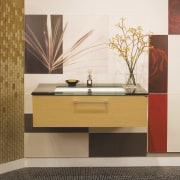Image of high-end bathroom products available at The bathroom, bathroom accessory, bathroom cabinet, cabinetry, chest of drawers, drawer, floor, flooring, furniture, interior design, product design, shelf, sideboard, sink, wall, white, brown