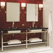 Image of high-end bathroom products available at The bathroom, bathroom accessory, bathroom cabinet, floor, flooring, interior design, plumbing fixture, room, sink, tile, white, red