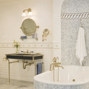Image of high-end bathroom products available at The bathroom, bathroom sink, ceramic, floor, flooring, interior design, plumbing fixture, product design, room, sink, tap, tile, wall, white