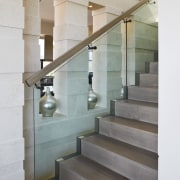 View of a stairway with a glass ballustarde architecture, daylighting, glass, handrail, interior design, stairs, gray