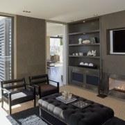 interior bathroom view of oak manor. Design by interior design, living room, property, room, gray, black