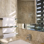 View of the master bathroom with floor-to-ceiling marble, bathroom, countertop, floor, interior design, room, sink, tap, tile, gray, brown