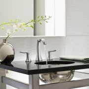 Image of high-end bathroom products available at The ceramic, furniture, interior design, plumbing fixture, product design, sink, table, tap, white