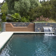 View of pool area with clear glazed walls, backyard, estate, house, landscape, landscaping, leisure, outdoor structure, pond, property, real estate, swimming pool, water, water feature, yard, brown