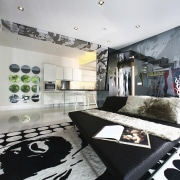 Images of this open planned lounge/living area which automotive design, design, interior design, room, white, black, gray