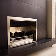 Image of easy to use, outdoor fireplace designed fireplace, floor, flooring, hearth, heat, gray, black