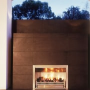 Image of easy to use, outdoor fireplace designed fireplace, hearth, heat, black