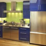 View of a new kitchen oak flooring, CaesarStone cabinetry, countertop, floor, hardwood, home appliance, interior design, kitchen, room, orange, brown
