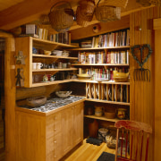 View of wooden shelving and cabinetry. - View bookcase, cabinetry, furniture, interior design, kitchen organizer, shelving, wood, brown