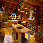 View of a new kitchen which was added café, interior design, table, wood, brown, red